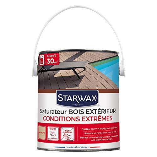 STARWAX Saturateur haute protection pour terrasses en bois teinte incolore 2,5L - Idéal pour nourrir et protéger le bois