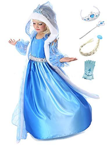 Eleasica Ragazze Frozen Abito da Principessa Elsa Bambine Regalo Compleanno Vestito in Costumi Travestimento Corona Bacchetta Magica Abito da Sera Natale Carnevale