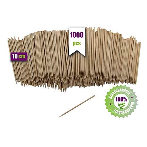 GoBeTree 1000 Brochetas de Madera de 10 cm y Ø 2 mm...