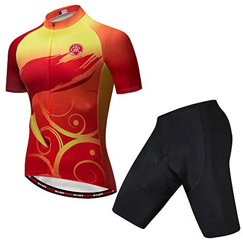 HXTSWGS Conjunto de Maillot de Ciclismo de Verano, Maillot de Ciclismo de Carreras de Equipo Transpirable, Ropa de Ciclismo para Hombre Jersey de Bicicleta Corta-C_M