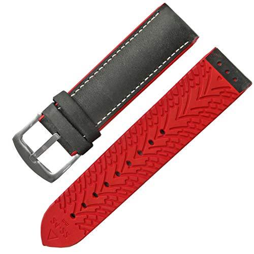 19mm mattschwarzes Lederarmband mit rotem Silikonkautschukarmband