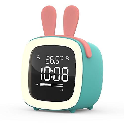 Guo Hengbo Feld Creative Heißer Student Mini Wecker, Smart Home, Snooze Nachtlicht, Schlafzimmer warmes [grün blau] + Ladeleitung + Hasenohren 1,6 W
