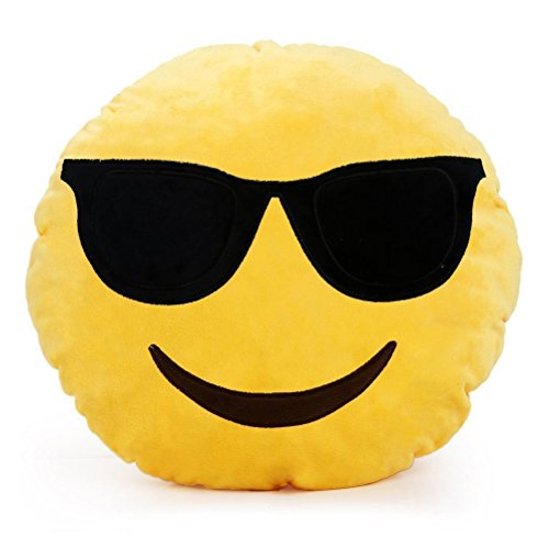 Emoji Emoticono Cojín Almohada Redonda Emoticon Bordado Sonriente-Type F