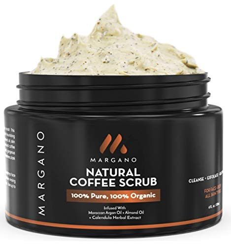 Natural Coffee Face & Body Scrub. Energizing Gentle Exfoliant w/Coffee, Calendula, Moroccan Argan Oil, Almond Oil, Shea Butter| Anti Acne, Blackheads, Scars, Stretch Marks. Ultra Hydrating.