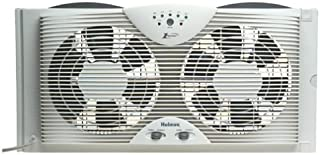 "Best Holmes Dual 8"" Blade Twin Window Fan with LED One Touch Thermostat Control Reviews"