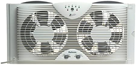 "Holmes Dual 8"" Blade Twin Window Fan with LED One Touch Thermostat Control"