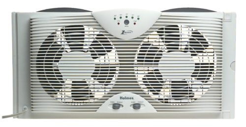 Holmes Dual 8' Blade Twin Window Fan with LED One Touch...