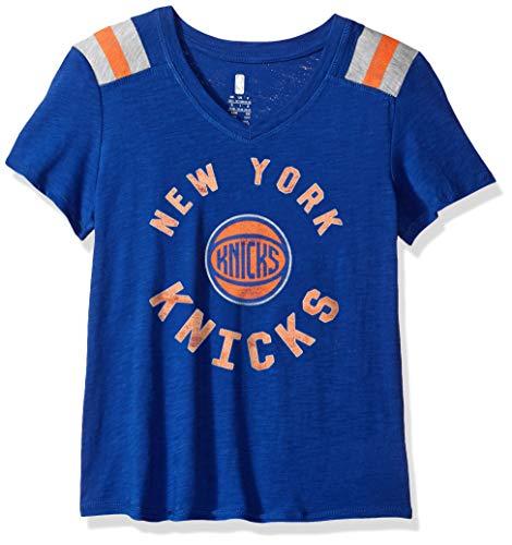 NBA by Outerstuff Basketball-T-Shirt für Mädchen, Retro-Block, Vintage-Design L blau