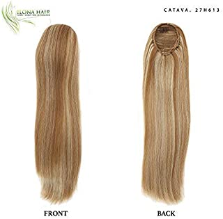 Long Blonde Ponytail Extension for woman light-colored strawberry blond, golden Hairpiece Straight crimped Hair 19