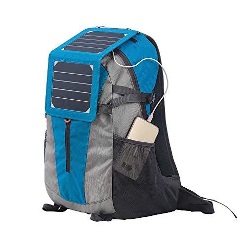 NNBB Puerto Impermeable Humedad del Recorrido del Bolso Solar de Carga USB Mochila Hombre Resistente al Desgaste Antirrobo Mochila,Azul