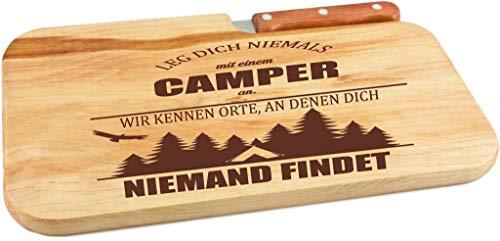 Beschdstoff/Schneidebrett mit Messer und Branding/Camping/Größe 26 x 15 x 12 cm Holz Brettchen