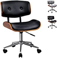 Artiss Executive Wooden Office Chair Faux Leather Padded Computer Home Work Seat Mid Back Black Adjustable Height Chrome...