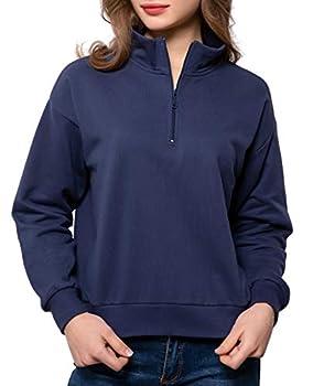 QUALFORT Women's Pullover Sweatshirts High Neck Long Sleeve Quarter ZipPullover Jacket Navy Large