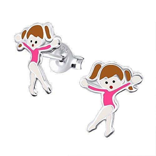 Katy Craig - Orecchini a forma di ballerina, in argento Sterling, colore: rosa