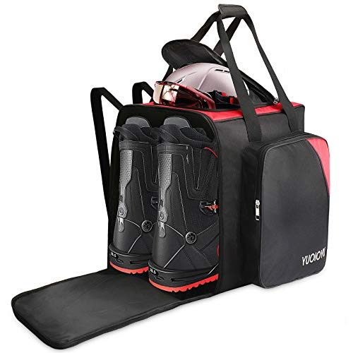 YUOIOYU Waterproof Ski Boot Bag - Snowboard Boot Bag 2 Carry Ways Compact Lightweight Travel Skiing Luggage for Helmets, Gear, Globes, Goggles,Outerwear with Venting, Red
