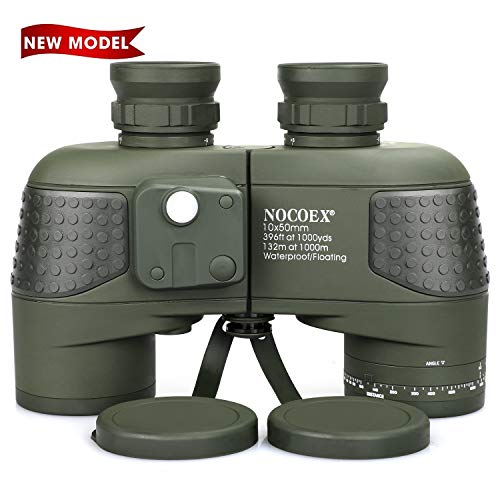 NOCOEX 10X50 Marine Binoculars for Adults Waterproof with Compass Rangefinder Fogproof BAK4 Prism Lens Military Binocular for Navigation Boating Birdwatching and Hunting,with Tripod Adapter