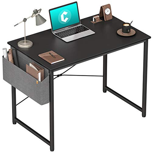 Cubiker Computer Desk 32 inch Home Office Writing Study Desk, Modern Simple Style Laptop Table with Storage Bag, Black