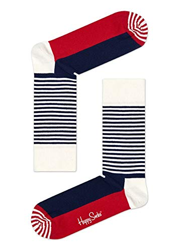 Happy Socks, bunt klassische Baumwolle Socken für Männer und Frauen, Navy & Rote Half Stripe...