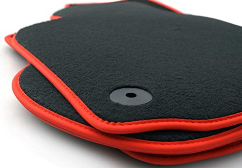 Fußmatten passend für Golf 5 6 1K 5K Velours Tuning Automatten passgenau 4-teilig schwarz Nubuk rot