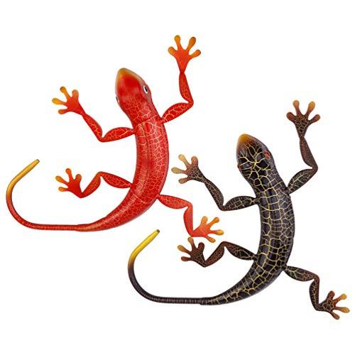 FAVOMOTO Gecko Metal Wall Art Esculturas de Animais Parede Decoração Da Parede De Inspiração 3D Fence Art para Varanda Pátio Parede Decorações de Suspensão Ao Ar Livre Varanda Jardim Ao Ar