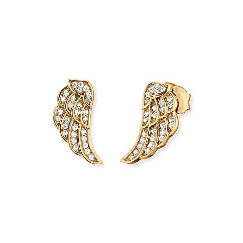 Engelsrufer Flügel Ohrstecker für Damen Gelbvergoldet 925er-Sterlingsilber Weiße Zirkonia Größe 11 mm