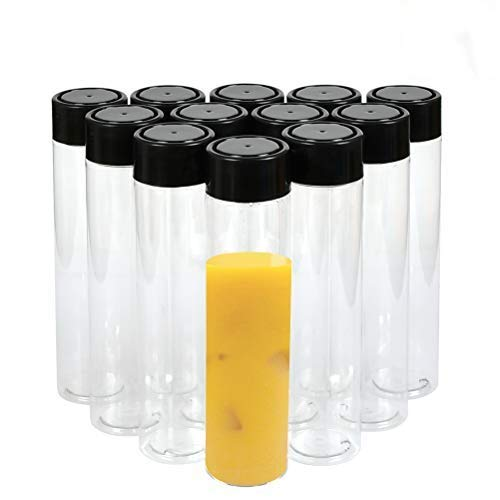 OFNMY 12pcs 350ml Pet Botellas de Alimentos Reutilizables Transparente Contenedores de Bebida para Almacenar Zumo, Leche, Batidos o Bebidas Caseras