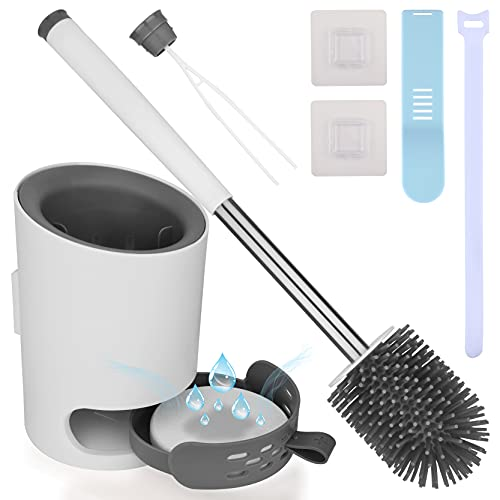 Toilet Brush and Holder Set Silicone Eco Toilet Bowl Scrubber Cleaner with Replaceable Bristle Head Aluminum Handle Removable Drawer Diatom Mud Pad Toilet Seat Cover Lifter for Bathroom Home Kitchen