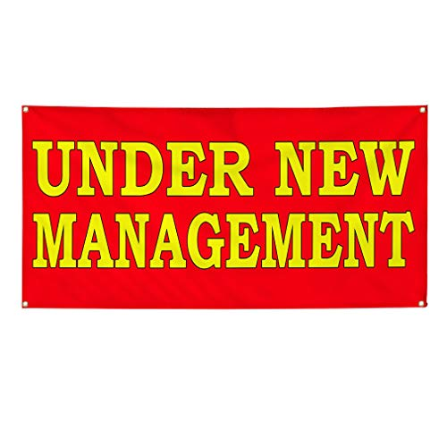 Vinyl Banner Multiple Sizes Under New Management Red Yellow Business Outdoor Weatherproof Industrial Yard Signs Red 4 Grommets 24x48Inches