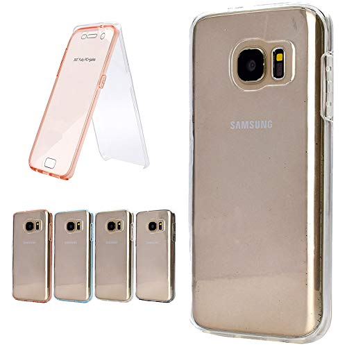 Nadoli 360 Degrés Coque pour Galaxy S7 Edge,2 in 1 PC Arrière + Doux TPU Devant Tout Le Corps Silicone Étui Housse Coquille Case Coque pour Samsung Galaxy S7 Edge,Transparent