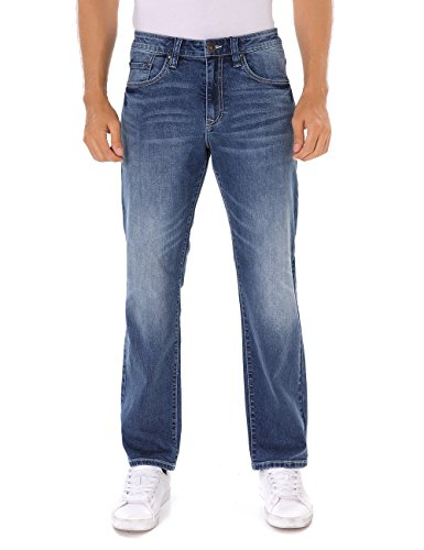 Indigo alpha Relaxed Tapered Fit Faded Wash Blue Denim Jeans for Men(8019,W40/L32)