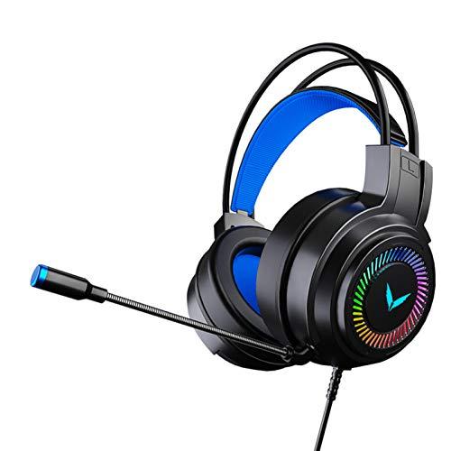 Ps4/5, Pc, Xbox One Controller Auriculares estéreo para juegos, Auriculares de reducción de ruido para juegos, Rgb Lighting Gaming Headset, Auriculares para juegos de escritorio, Negro