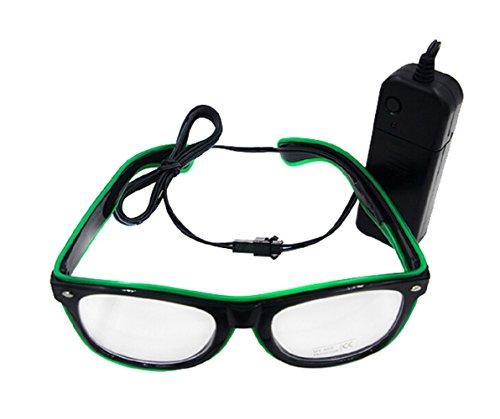 UTOVME EL Leuchtbrille Party Club LED Leuchten Brillen Partybrille Eyeglasses Nicht blendet mit Batterie Box Gruen