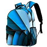 Mochila para niños y niñas para la escuela azul abstracta letra U lindas mochilas para primaria o jardín de infancia 29.4x20x40cm, Blue Art9, 29.4x20x40cm, Mochilas Daypack