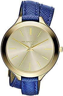 Michael Kors Brookton Women's Champagne Dial Leather Band Watch - MK2286