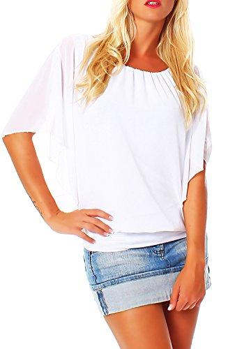 Damen Bluse im Fledermaus Look | Tunika mit Rundhals und breitem Bund | Blusenshirt Kurzarm | Elegant - Shirt 6296 (weiß)