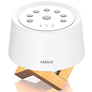 AIRSEE White Noise Machine – Portable Sound Machine with Nightlight 29 Non-Looping Soothing Sounds for Sleeping, Sleep Sound Noise for Home and Travel