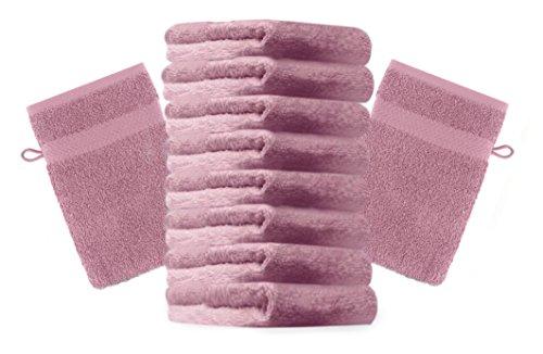 Betz Set di 10 guanti da bagno Premium misure 16 x 21 cm 100 % cotone Colore rosa antico