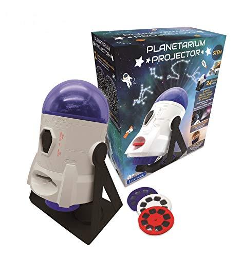 Lexibook- Planetarium Proiettore 2-in-1, 24 Immagini per Scoprire Lo Spazio, 2 cupole con costellazioni, STEM, Bianco/Blu