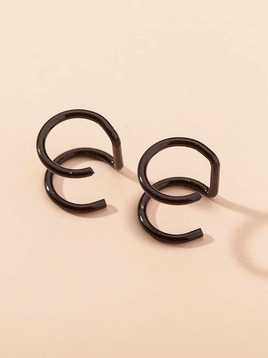 Sensecrol Hoop Earrings Minimalist Ear Cuff (Color : Black)