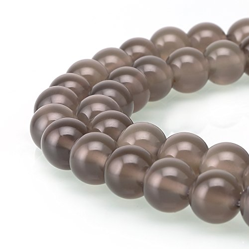BRCbeads Gorgeous Natural Gemstone Round Loose Beads Variation Colors and Material for Jewelry Making, Grigio agata, 10 mm