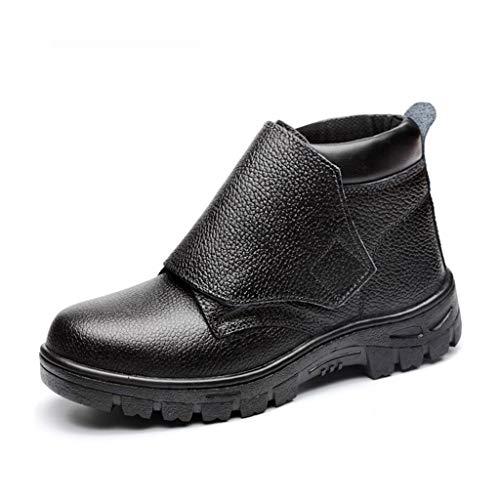 Sicherheitsschuhe Schweißer Sicherheits-Schuhe, schwarze Leder Arbeitssicherheitsschuhe Stahlkappe Stahlzwischensohle mit hoher Temperatur / Feuerbeständige / spritzwassergeschützt Schweißschutzschuhe