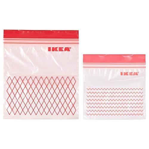 Ikea Istad, sacchetti rossi in plastica adatti per freezer, 30 sacchetti (0,4 l, 15 x 15,5 cm) e 30 sacchetti (1 l, 18 x 21,5 cm), totale 60pezzi