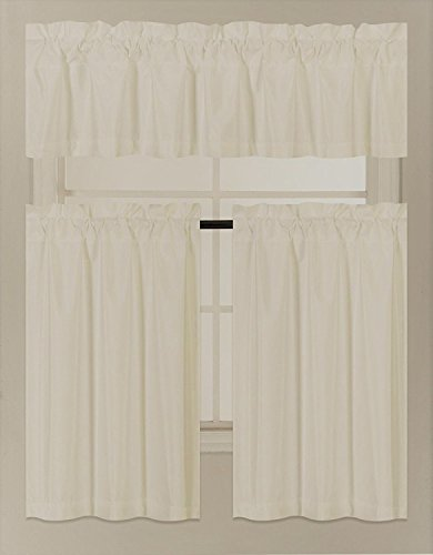 Elegant Home Collection 3 Piece Solid Color Faux Silk Blackout Kitchen Window Curtain Set with Tiers and Valance Solid Color Lined Thermal Blackout Drape Window Treatment Set #K3 (Ivory)