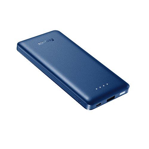 EasyAcc Slim Power Bank 10000mAh, QC Quick Charge 10000 Portable Charger, Ultra Compact External Battery, Lightweight Battery Pack for Android, iPhone and More - Blue