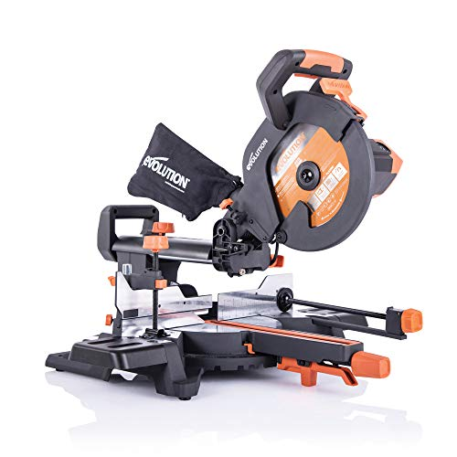 Evolution Power Tools R255SMS+ Compound Saw with Multi-Material Cutting, 45° Bevel, 50° Mitre, 300 mm Slide, 2000 W, 255 mm, 220-240 V, (3-Years Warranty)