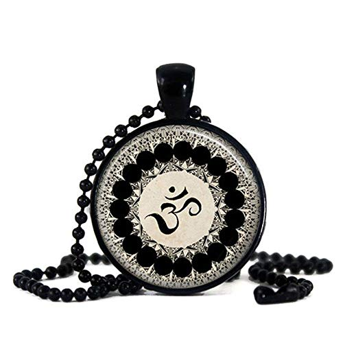 Tattooshe Namaste Om Yoga Necklace Glass Cabochon Pendant Ohm Buddha Mandala Symbol Dome Art Gift (Black)