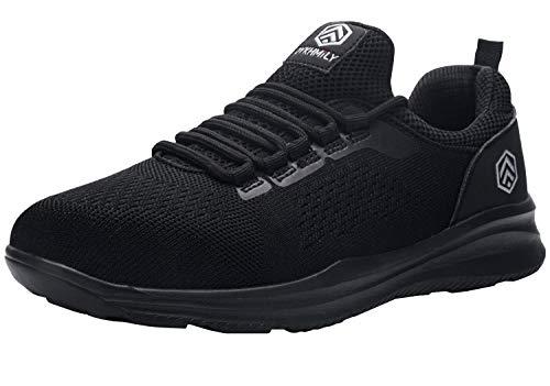DYKHMILY Zapatillas de Seguridad Hombre Impermeable Ligeras Zapatos de Seguridad Trabajo Punta de Acero Calzado de Seguridad (ConmocióN Negro,45 EU)