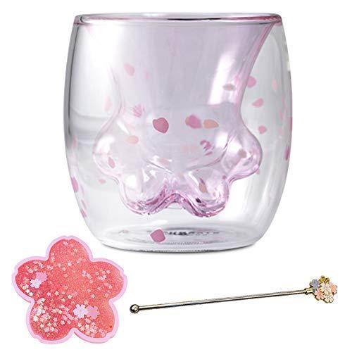 MZBZYU Juego de tazas de café de cristal de doble pared para mujer, resistentes al calor, diseño de huellas de gato con patrón de Sakura rosa