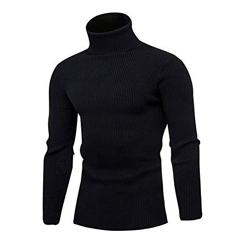 JFHGNJ Lente Coltrui Trui Voor Mannen Mode Effen Gebreide Heren Truien Casual Mannelijke Dubbele Kraag Slim Pullover-Zwart 1_De
