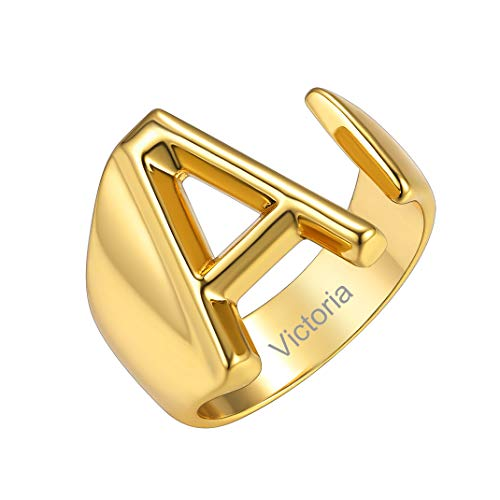 GoldChic Jewelry DIY Anillo Abierto para Dama Letra Alfabeto A Charm R